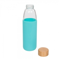 Glass sport bottle with wood lid